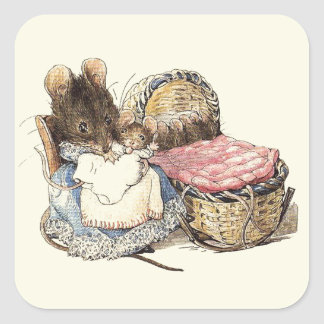 Mother Dormouse and her Child Square Sticker