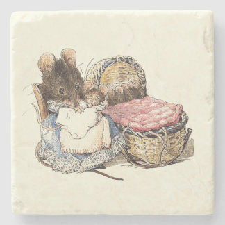 Mother Dormouse and Her Child Stone Beverage Coaster