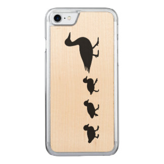 Mother Duck and Ducklings in Silhouette Carved iPhone 7 Case