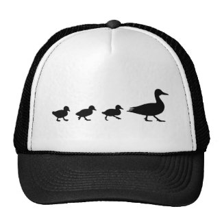 Mother Duck and Ducklings Silhouette Cap