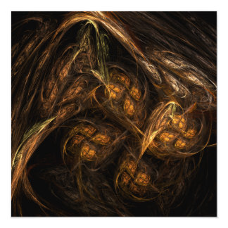 """Mother Earth Abstract Art 5.25"""" Square Invitation Card"""