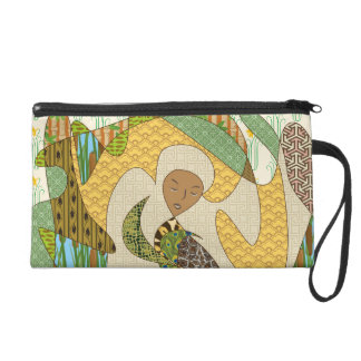 Mother Earth Abstract Illustration Animal Patterns Wristlet Purse