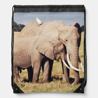 Mother elephant with young drawstring bag