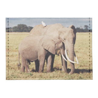 Mother elephant with young tyvek® card wallet