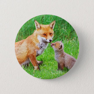 Mother fox and cub 6 cm round badge