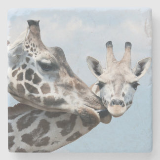 Mother giraffe kisses her calf stone coaster