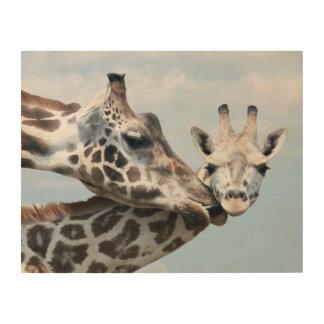 Mother giraffe kisses her calf wood wall decor
