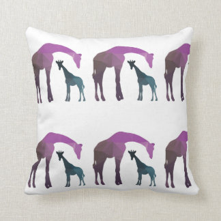 Mother Giraffe with baby Giraffe, giraffe family Cushion