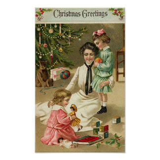 Mother Girls and Toys At Christmas Print