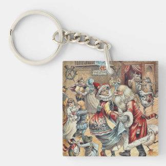 Mother Goose Dancing with Santa Claus Key Ring