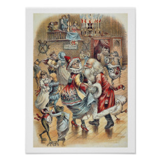 Mother Goose Dancing with Santa Claus Poster