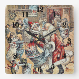 Mother Goose Dancing with Santa Claus Square Wall Clock