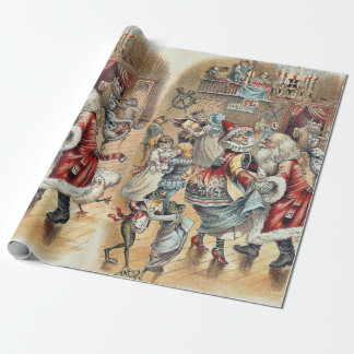 Mother Goose Dancing with Santa Claus Wrapping Paper