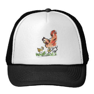 Mother Hen and Two Chicks Cap