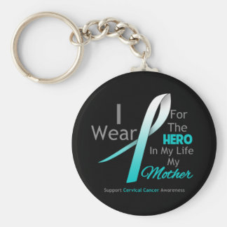 Mother - Hero in My Life - Cervical Cancer Basic Round Button Key Ring