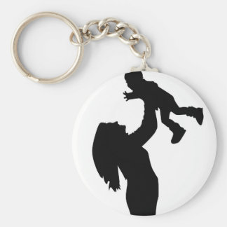 Mother Holding Son Silhouette Key Ring