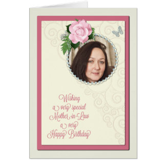 Mother-in-law, add a photo,birthday with a rose greeting card
