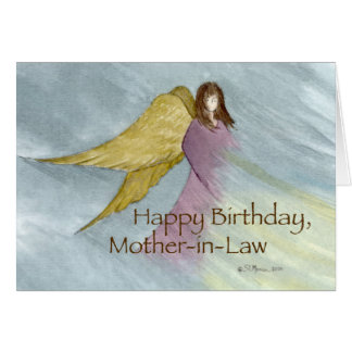 Mother-in-Law, Angel Birthday Blue Greeting Card