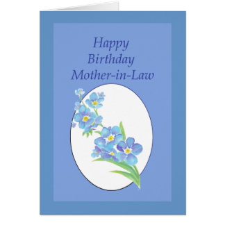 Mother-in-Law  Birthday Forget Me Not, Flower Greeting Card