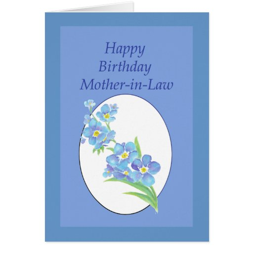 Mother-in-Law  Birthday Forget Me Not, Flower Greeting Cards