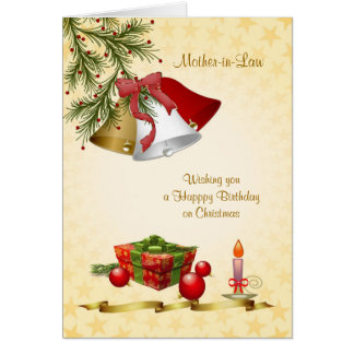 Mother-in-Law, Birthday on Christmas - bells, cand Greeting Card