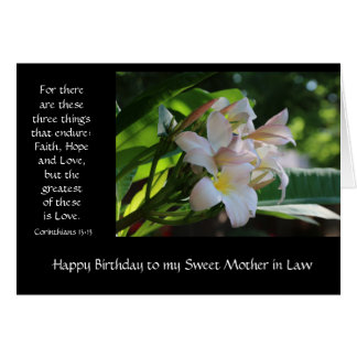 Mother in Law Birthday, w/ verse about love Greeting Card