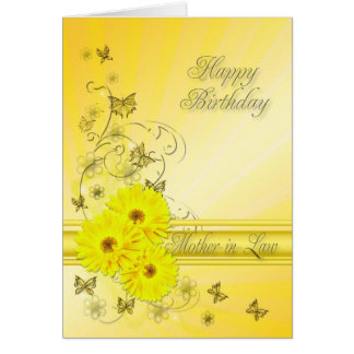 Mother-in-Law, birthday with yellow flowers Greeting Card
