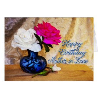 Mother-in-law, Happy Birthday with painted roses Greeting Card