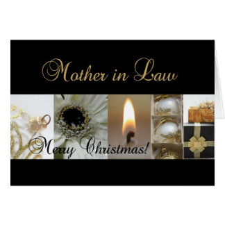 Mother in Law Merry Christmas  black gold christma Card