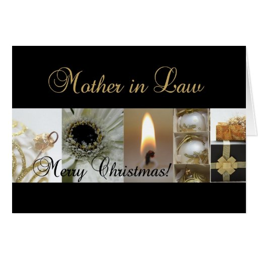 Mother in Law Merry Christmas  black gold christma Cards