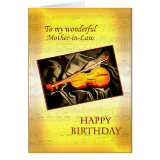 Mother-in-Law, musical birthday card with a violin
