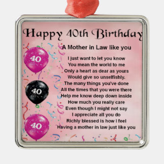 Mother in Law Poem - 40th Birthday Christmas Ornament