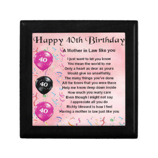 Mother in Law Poem - 40th Birthday Gift Box