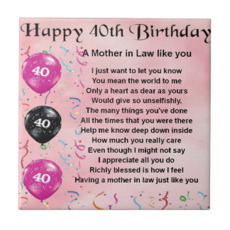 Mother in Law Poem - 40th Birthday Tile