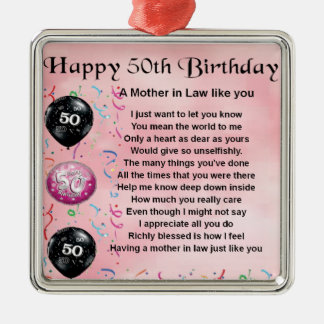 Mother in Law Poem  -  50th Birthday Christmas Ornament