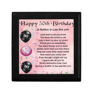 Mother in Law Poem  -  50th Birthday Small Square Gift Box