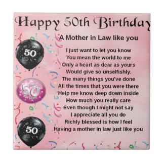 Mother in Law Poem  -  50th Birthday Tile