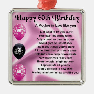Mother in Law Poem - 60th Birthday Christmas Ornament