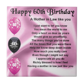 Mother in Law Poem - 60th Birthday Tile