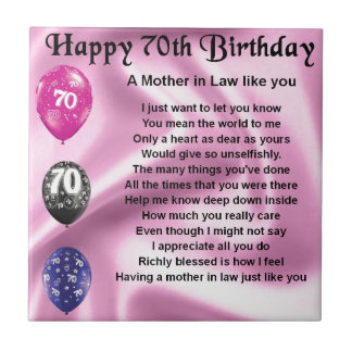 Mother in Law Poem - 70th Birthday Tile