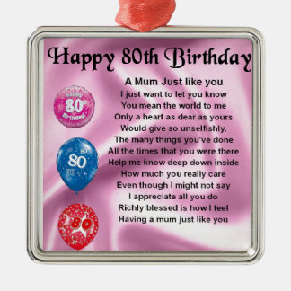 Mother in Law Poem - 80th Birthday Christmas Ornament