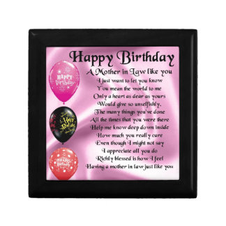 Mother in Law Poem  -  Happy Birthday Small Square Gift Box
