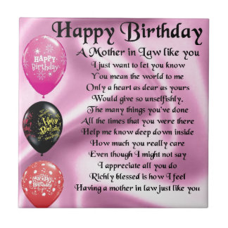 Mother in Law Poem  -  Happy Birthday Tile