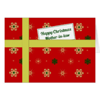 Mother-in-law red Christmas parcel Greeting Card