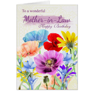 Mother-in-Law Watercolor Wild Flowers Card