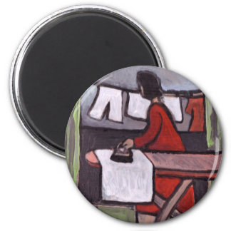 Mother ironing 6 cm round magnet