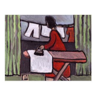 Mother ironing postcard