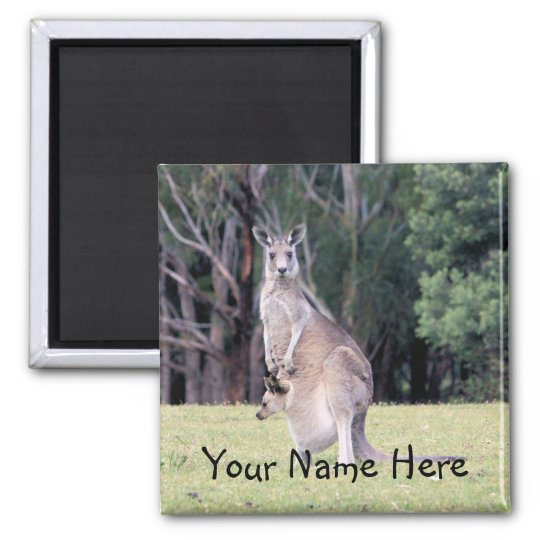 Mother Kangaroo with Baby Joey in Her Pouch Square Magnet