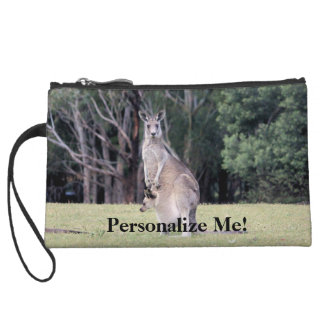 Mother Kangaroo with Baby Joey in Her Pouch Wristlet Purse