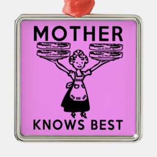 Mother Knows Best: Bacon! Silver-Colored Square Decoration